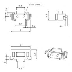 Dimensiones botón 3x6x3.5 SMD